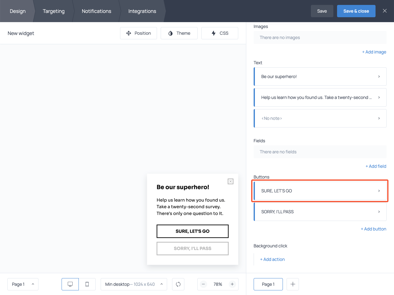 Buttons section highlighted in Getsitecontrol dashboard