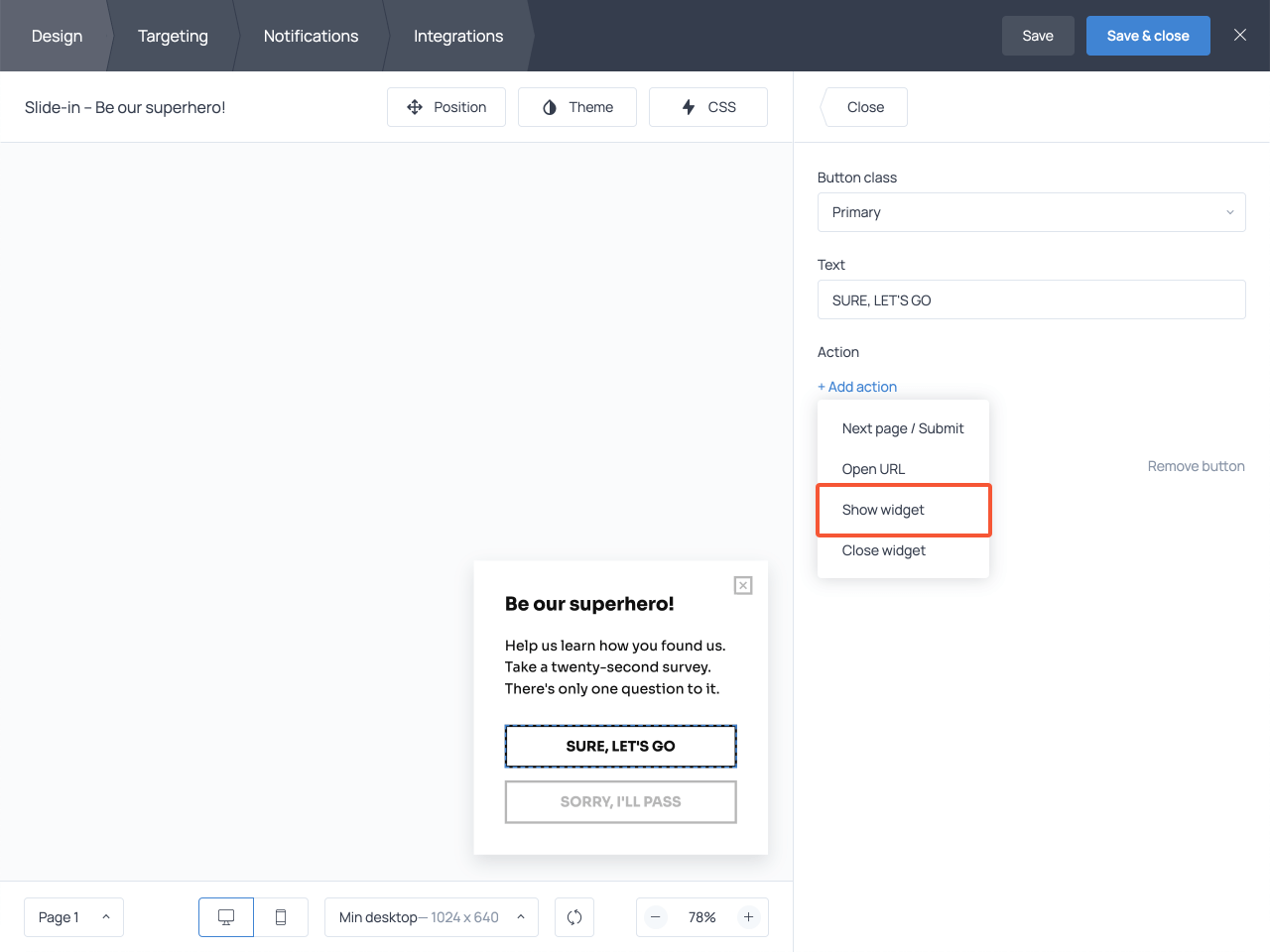 Choosing the Show widget option in the Buttons section