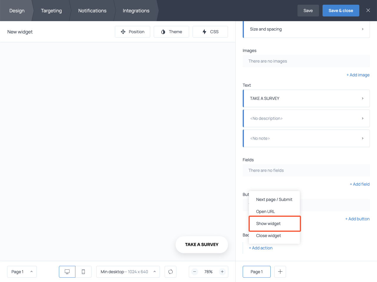 Adding a Show widget action in the Background click section