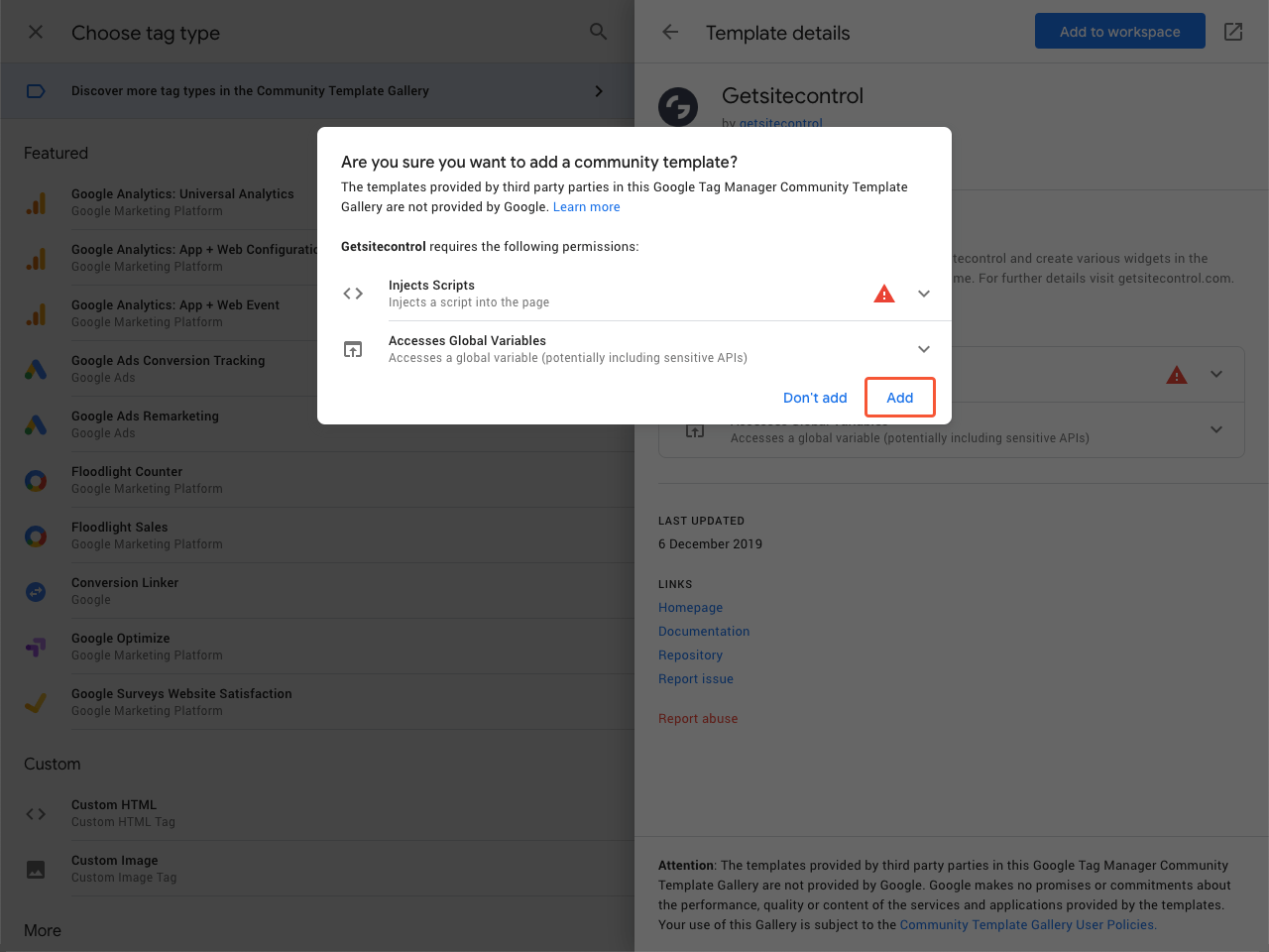 Google Tag Manager confirmation modal window