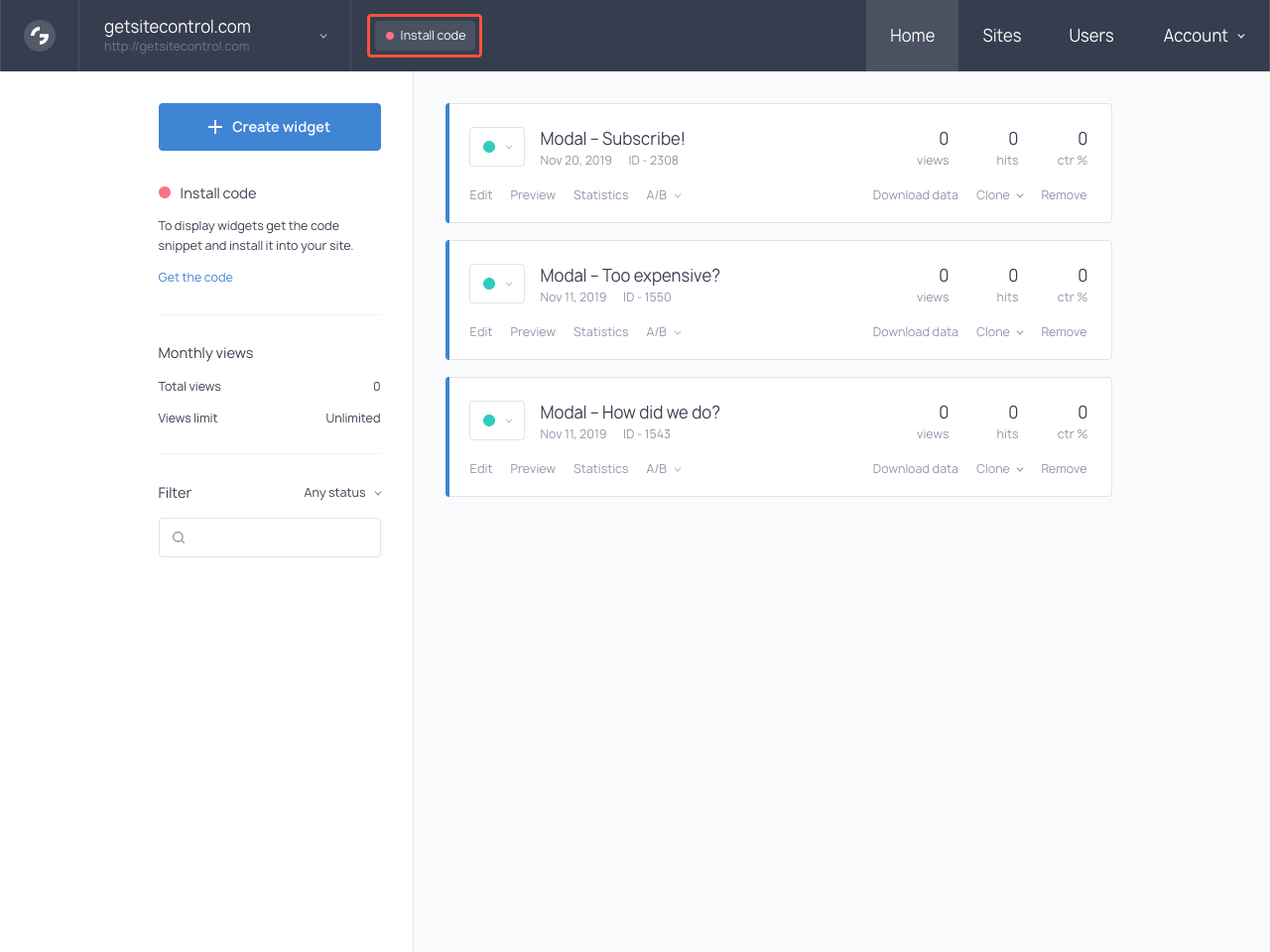 Getsitecontrol dashboard with the highlighted Install code link