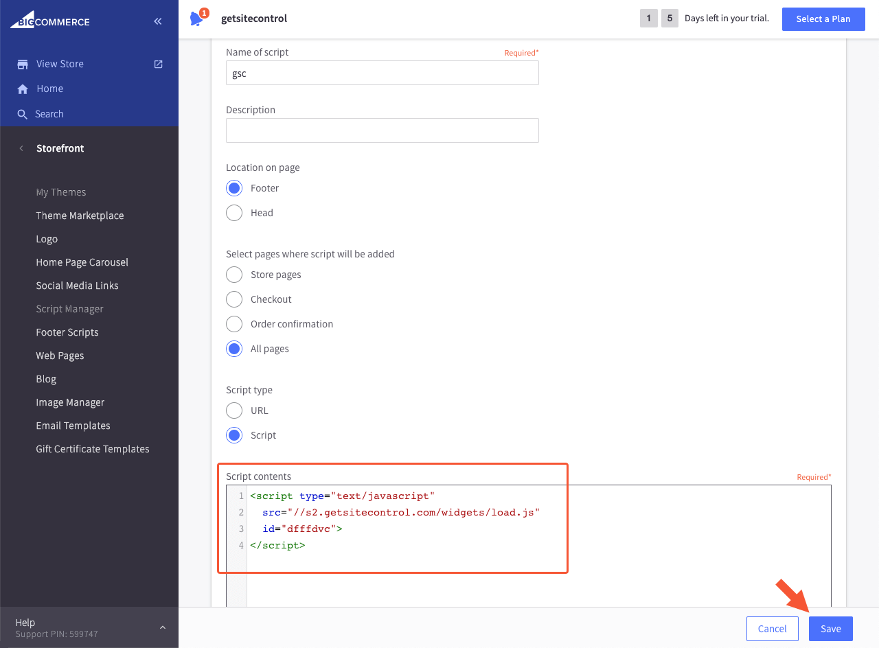 Getsitecontrol code added to the Create Script section