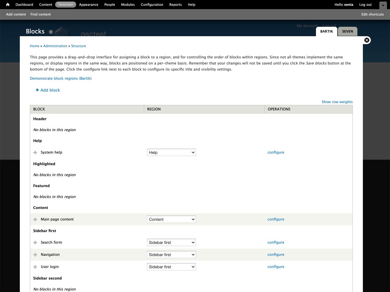 Add block link on Drupal dashboard