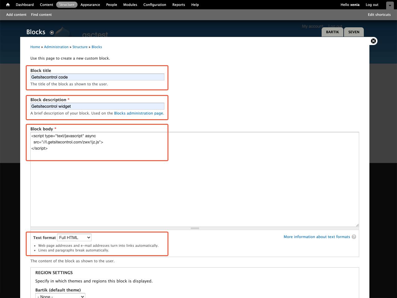 Drupal block settings window