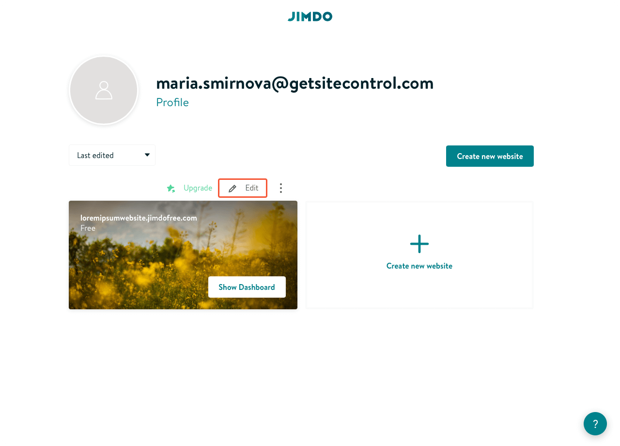 Jimdo control panel with the list of sites