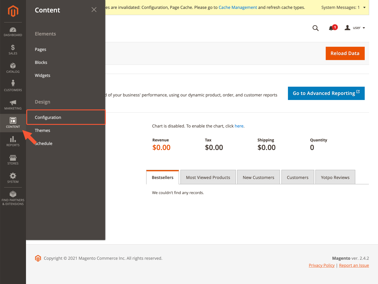 Magento sidebar menu with the highlighted Configuration section