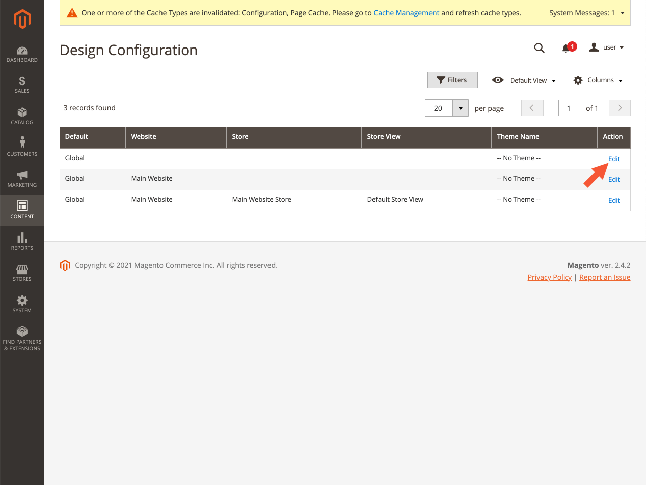 Design Configuration page with the highlighted Edit button