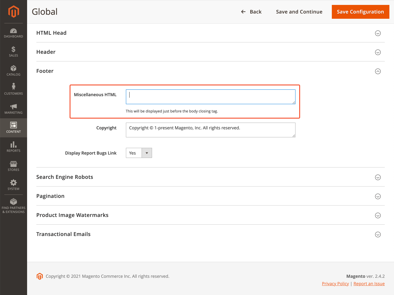 Footer section on Magento dashboard