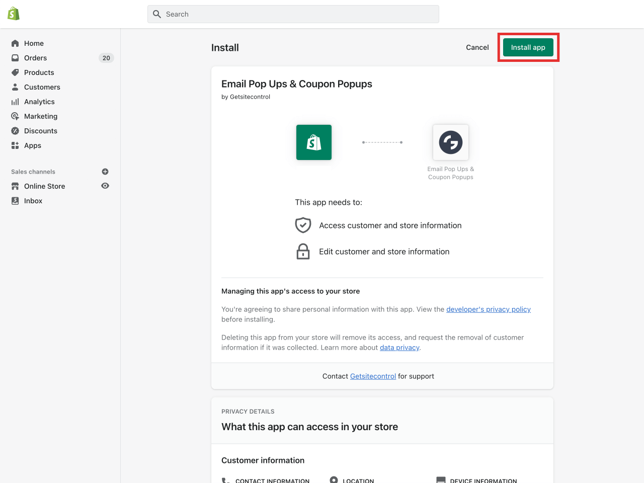 Shopify confirm app installation page