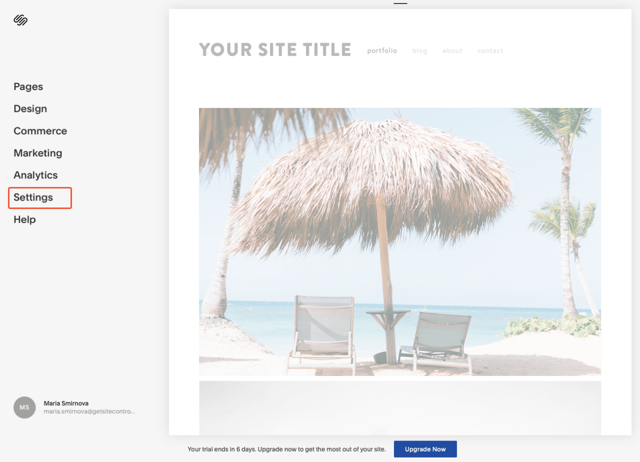 Squarespace control panel with the highlighted Settings menu item