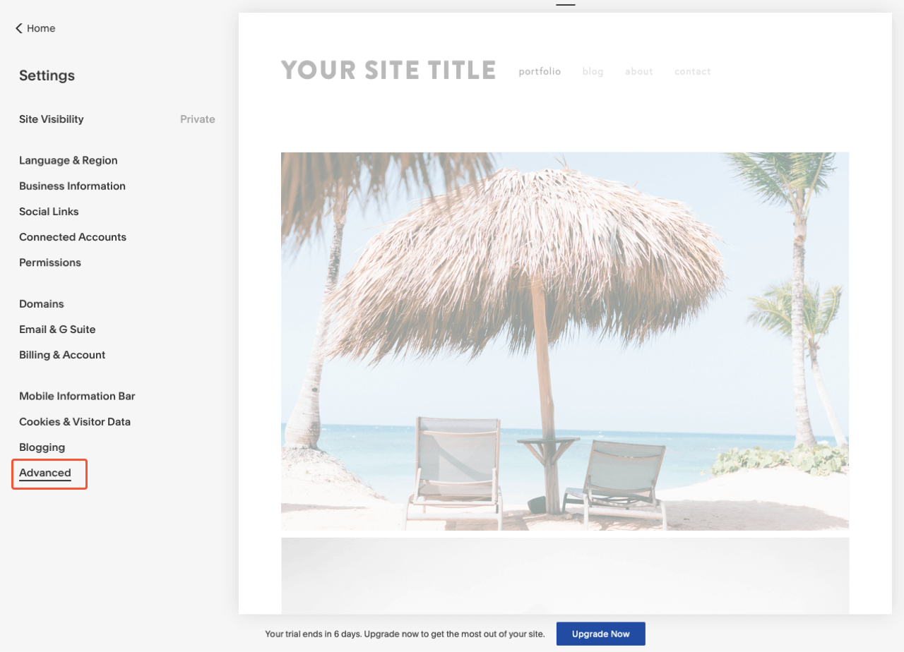 Squarespace control panel with the highlighted Advanced menu item