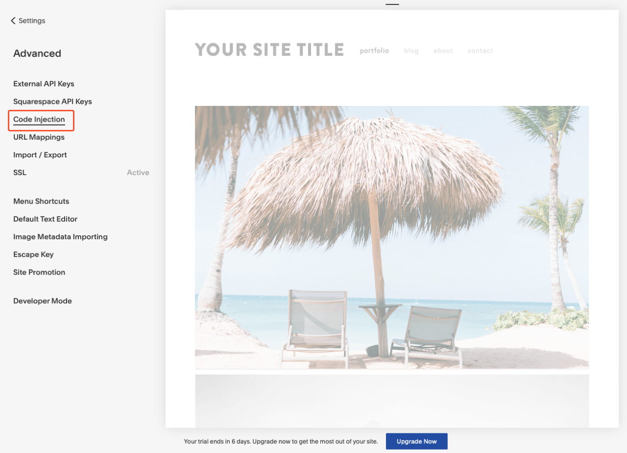 Squarespace control panel with the highlighted Code injection menu item