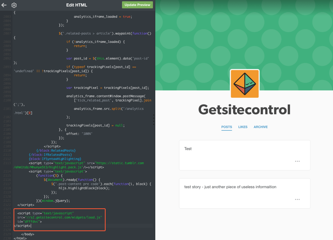 Getsitecontrol code added to the site code