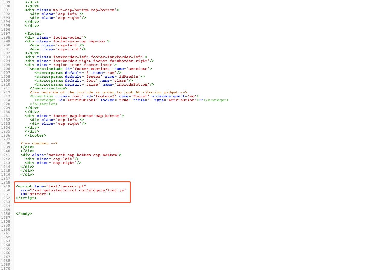 Getsitecontrol code added to the side code