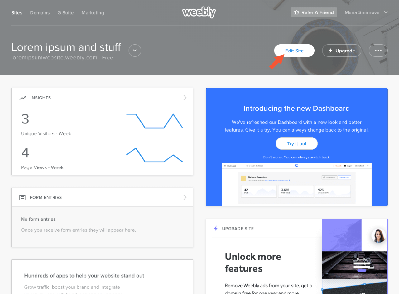 Weebly control panel with the highlighted Edit sites button