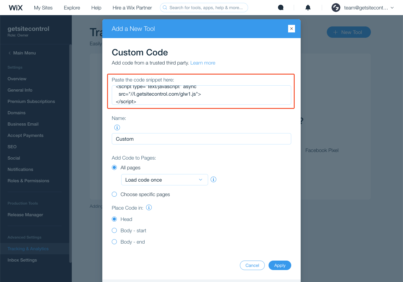 Getsitecontrol code added to the Custom code section