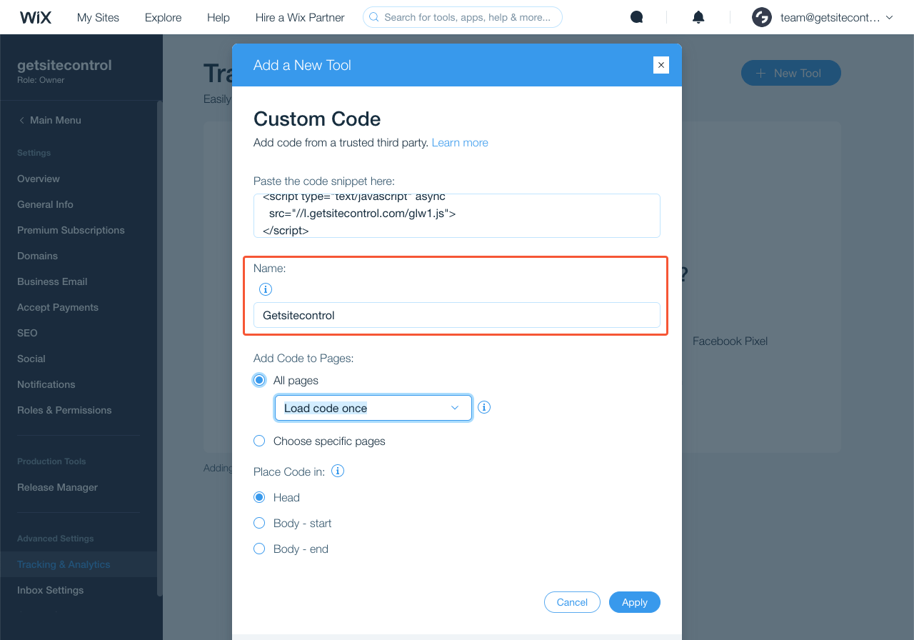 Adding a name for the custom code snippet