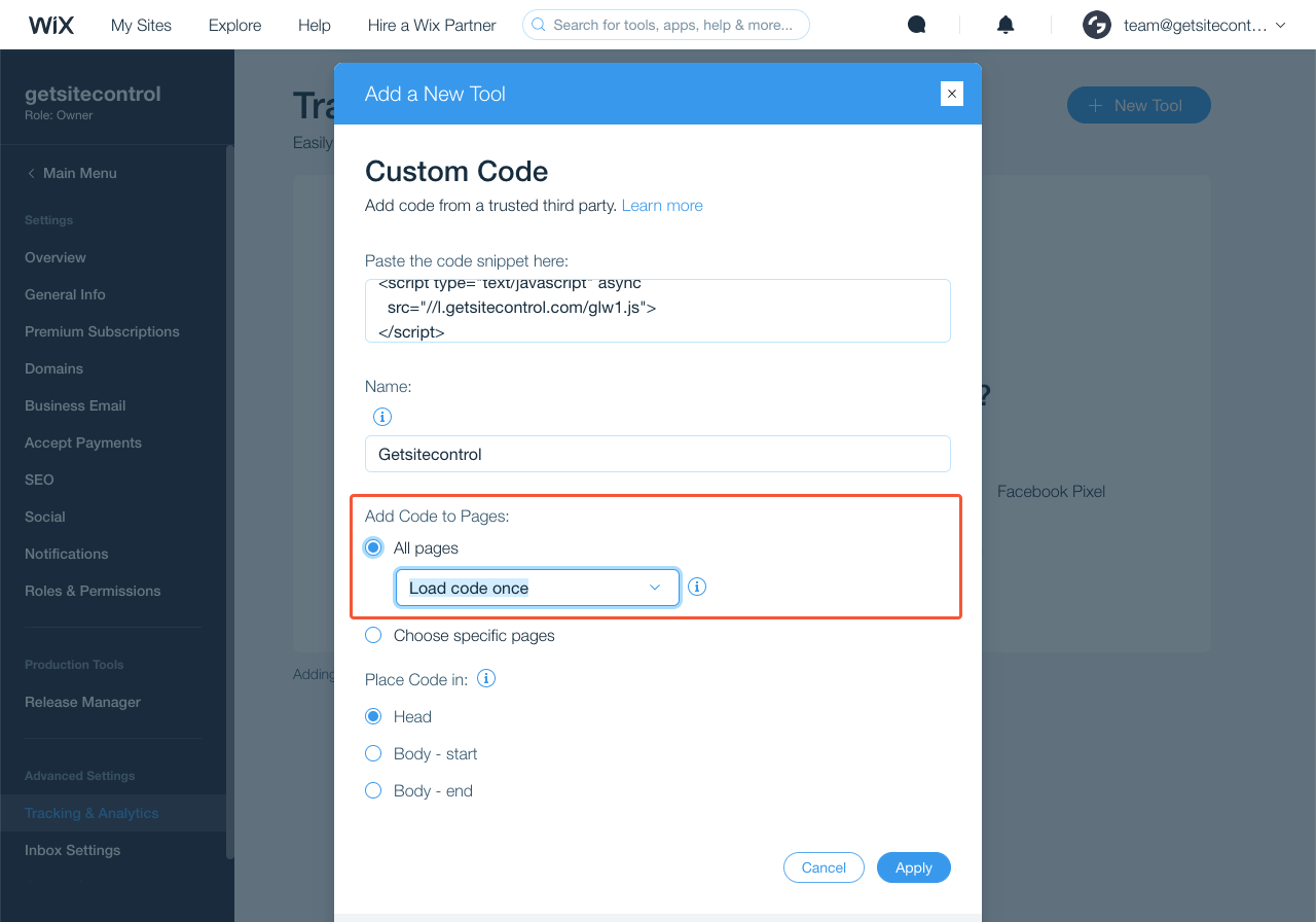 Choosing to add the code to all site pages