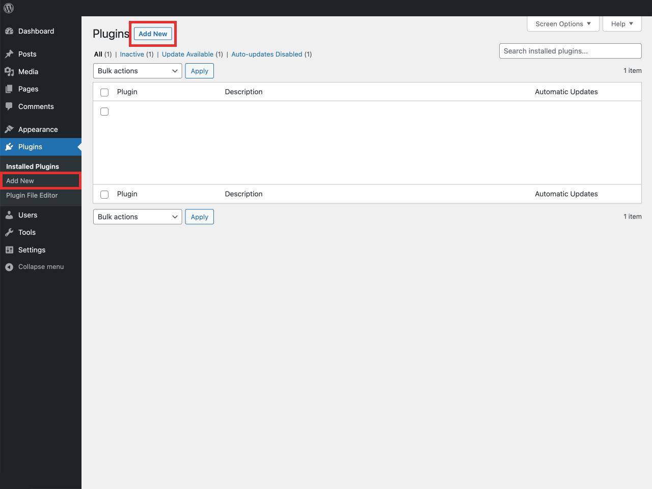 Getsitecontrol plugin in the Plugins section of WordPress control panel