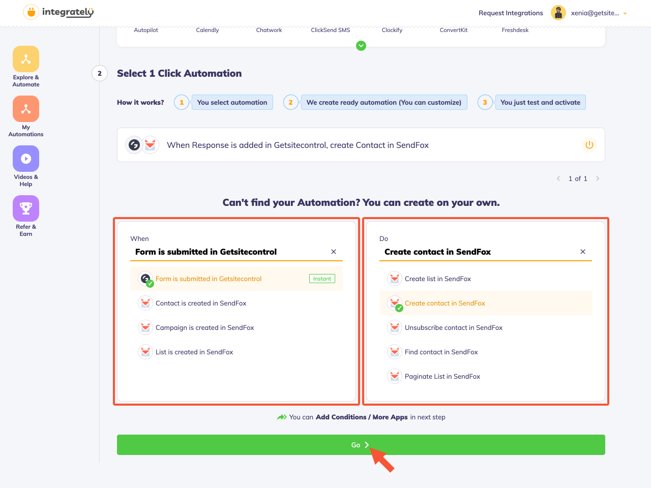 Selecting events for the connected apps
