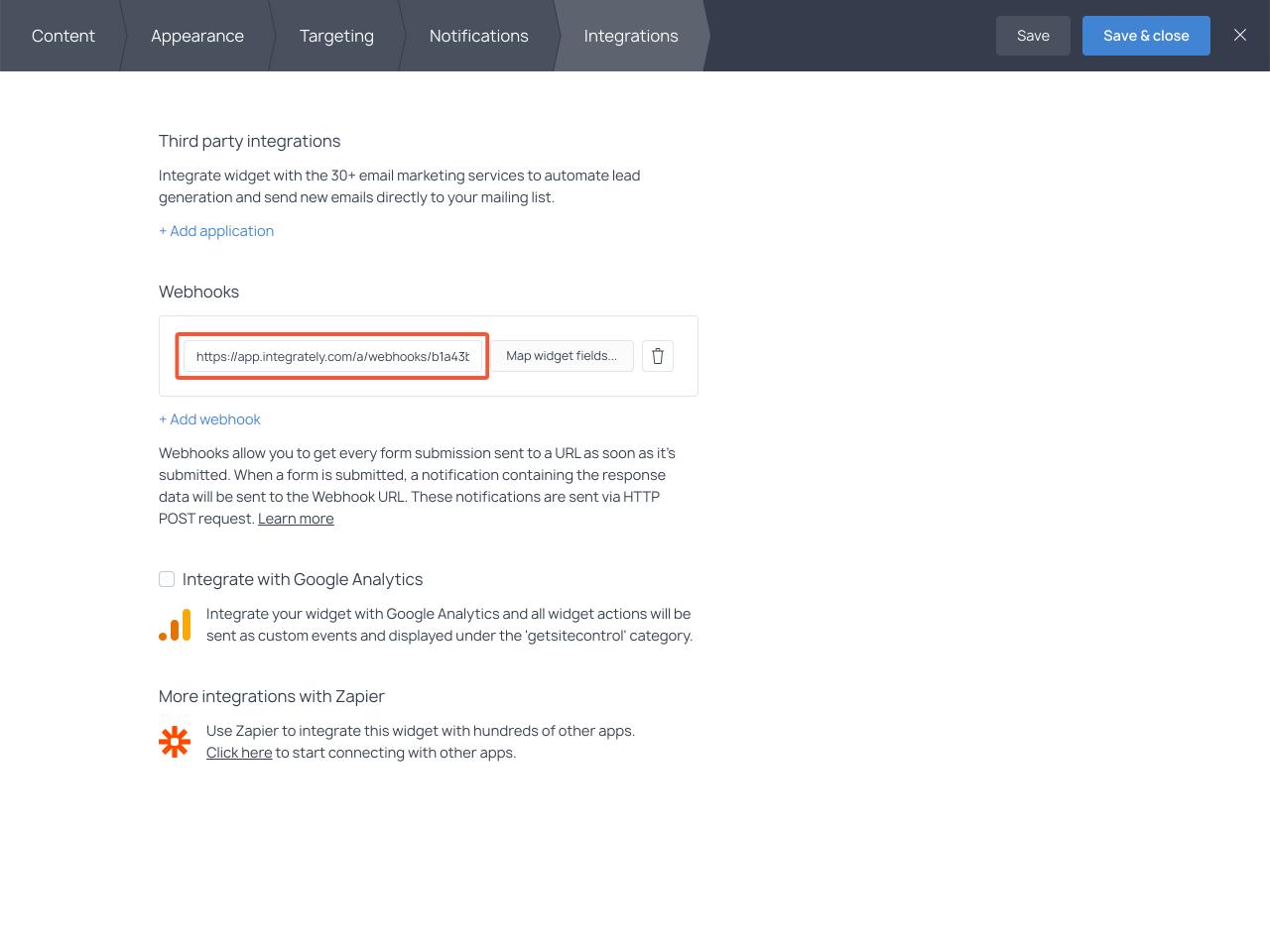 Webhooks section in Getsitecontrol