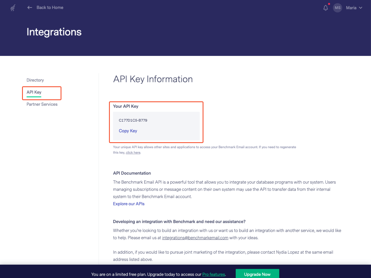 API key Information section of the Benchmark Email control panel