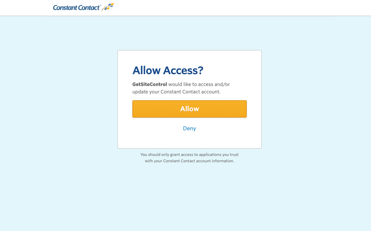 Allow Access modal window with Allow and Deny buttons