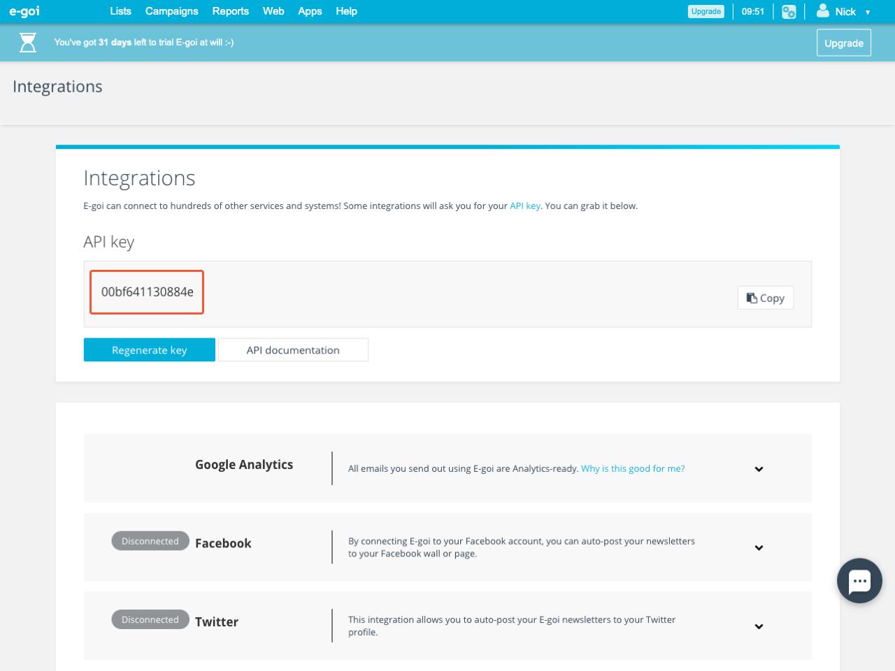 E-goi API key in the Integrations section