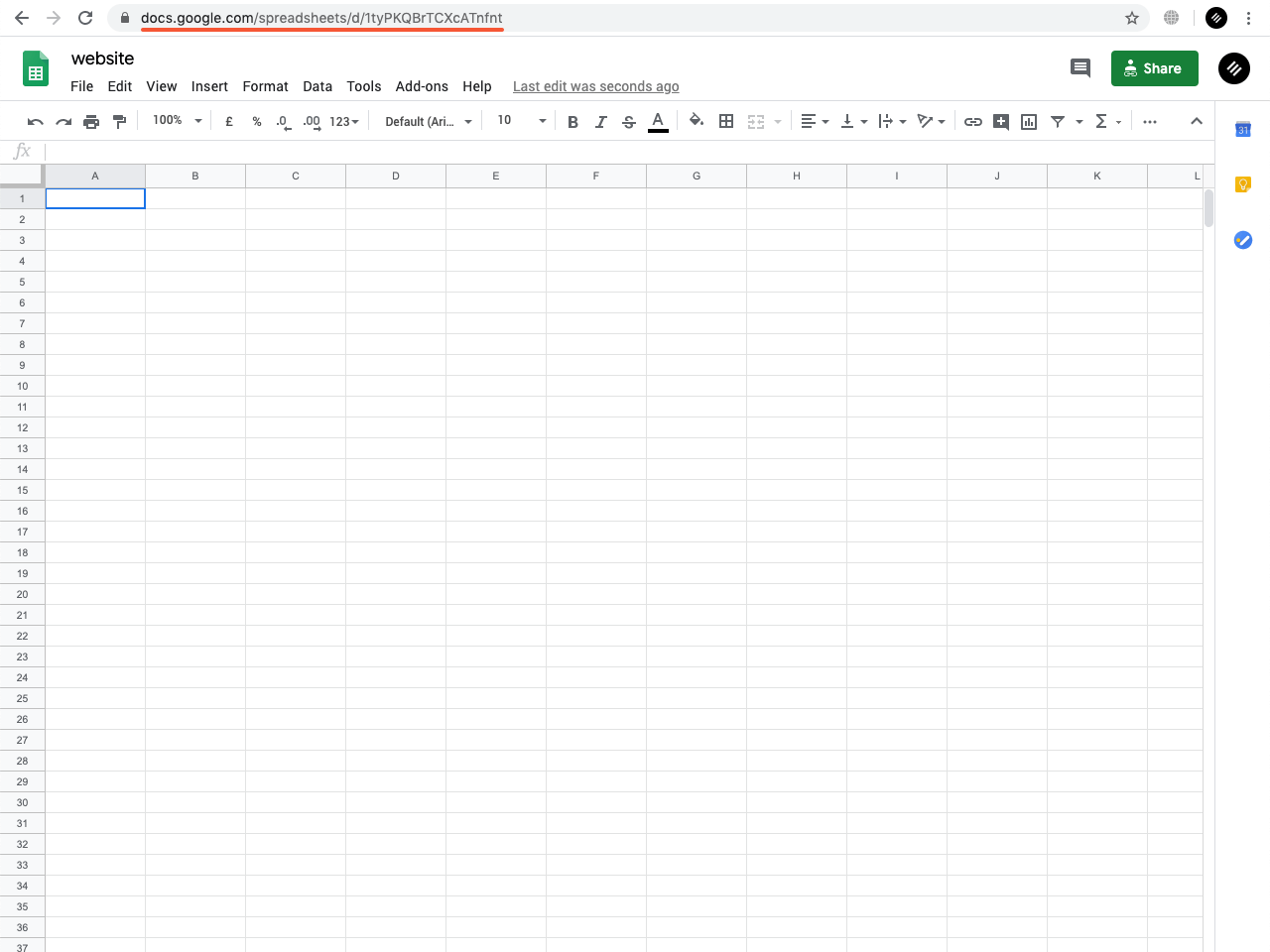 Google Sheets spreadsheet with the highlighted URL