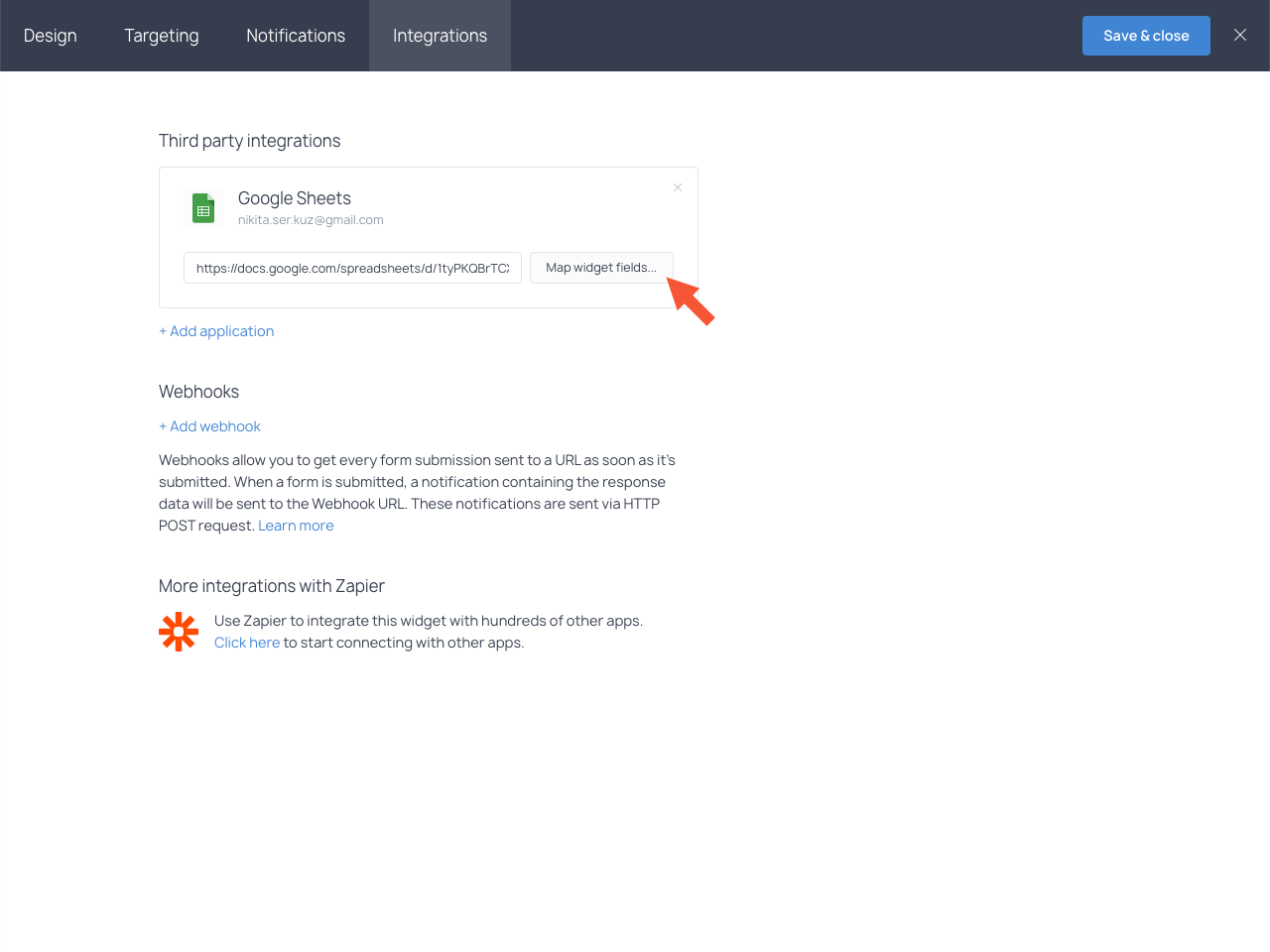Map widget fields button highlighted in the Integrations section