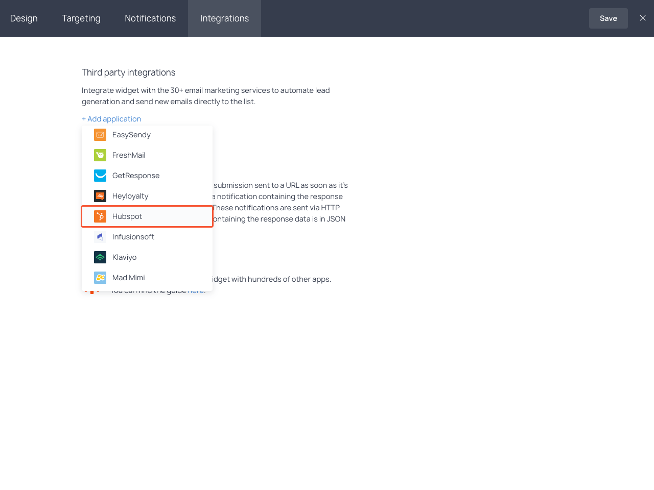 Integrations section with the highlighted Hubspot item in the dropdown list