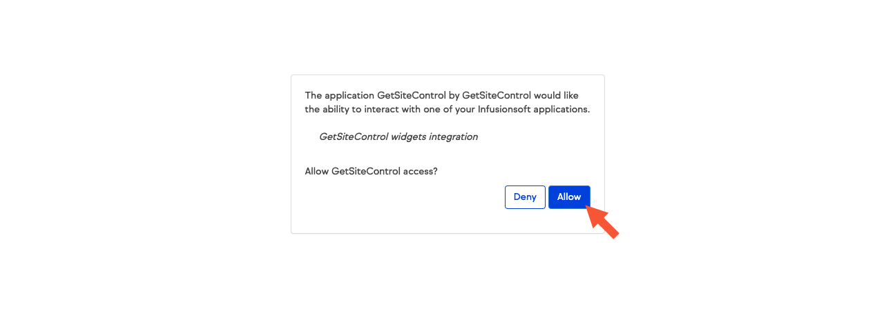 Allow access modal window with Deny and Allow buttons