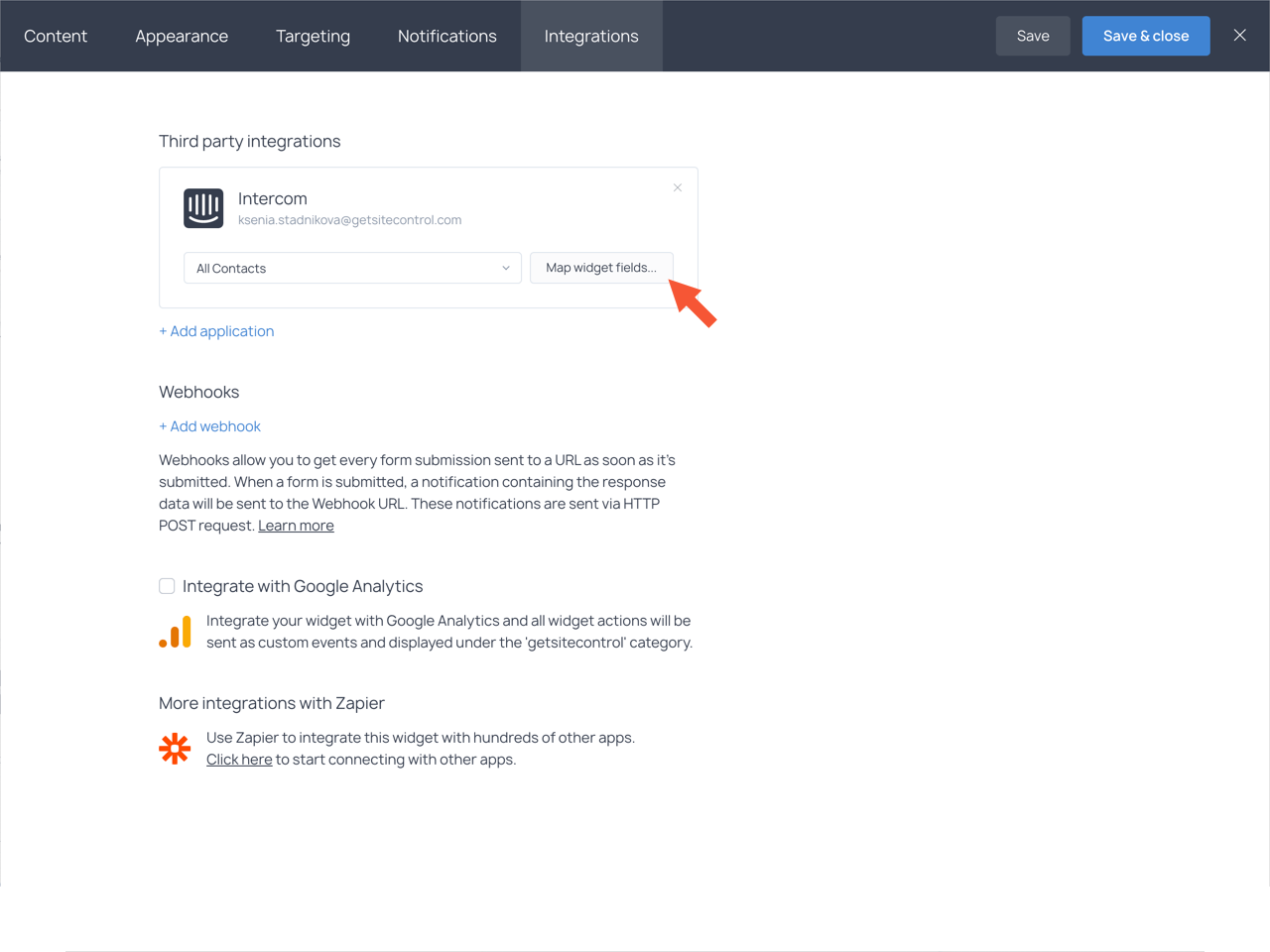 Integrations tab with the highlighted Map widget fields button