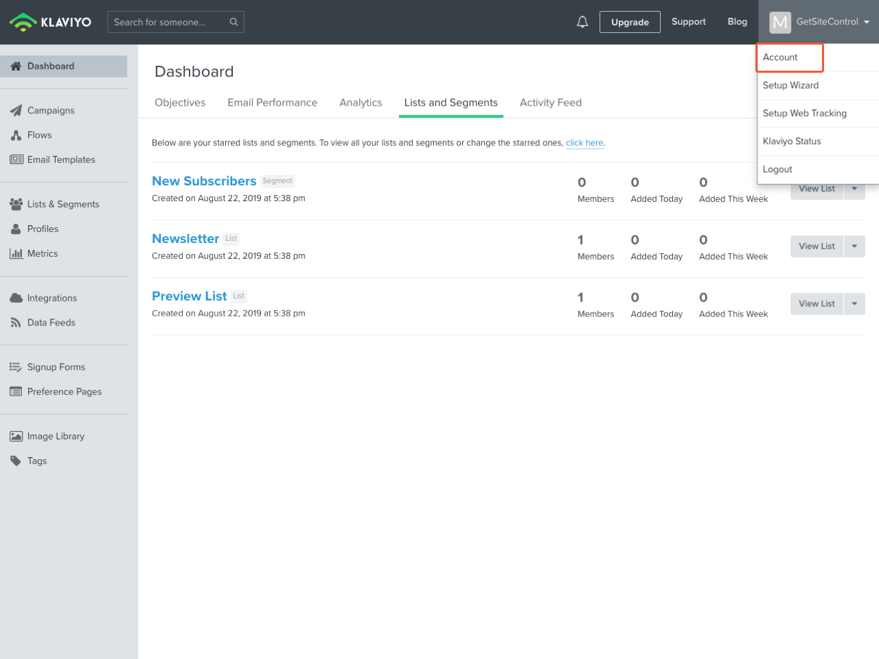 Klaviyo control panel with the highlighted Account menu item