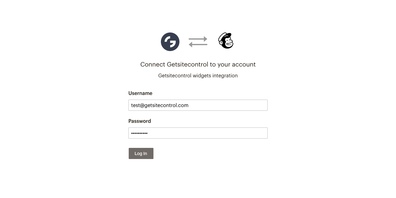 Mailchimp login modal window in the Integrations section