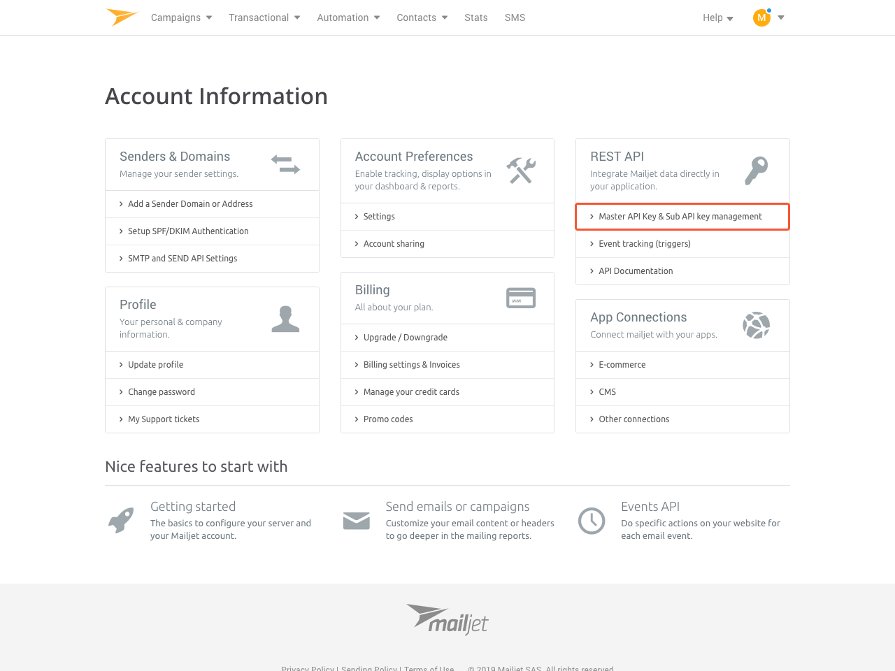 Account Information section in Mailjet control panel