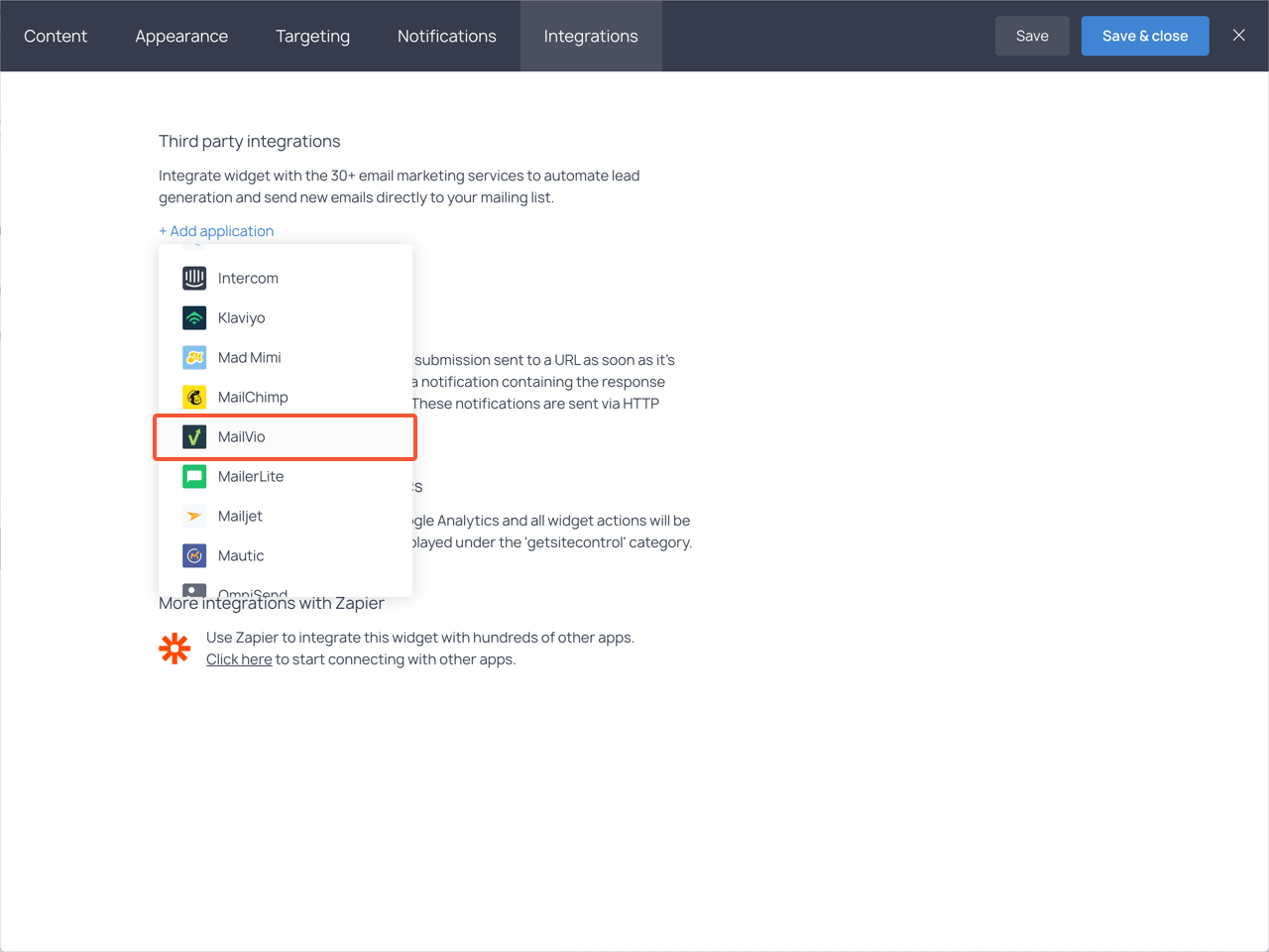 Integrations section with the highlighted Mailvio item in the dropdown list