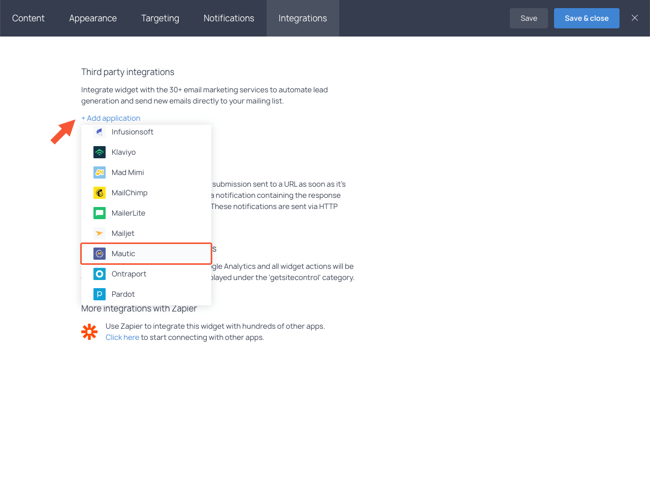 Integrations section with the highlighted Mautic item in the dropdown list