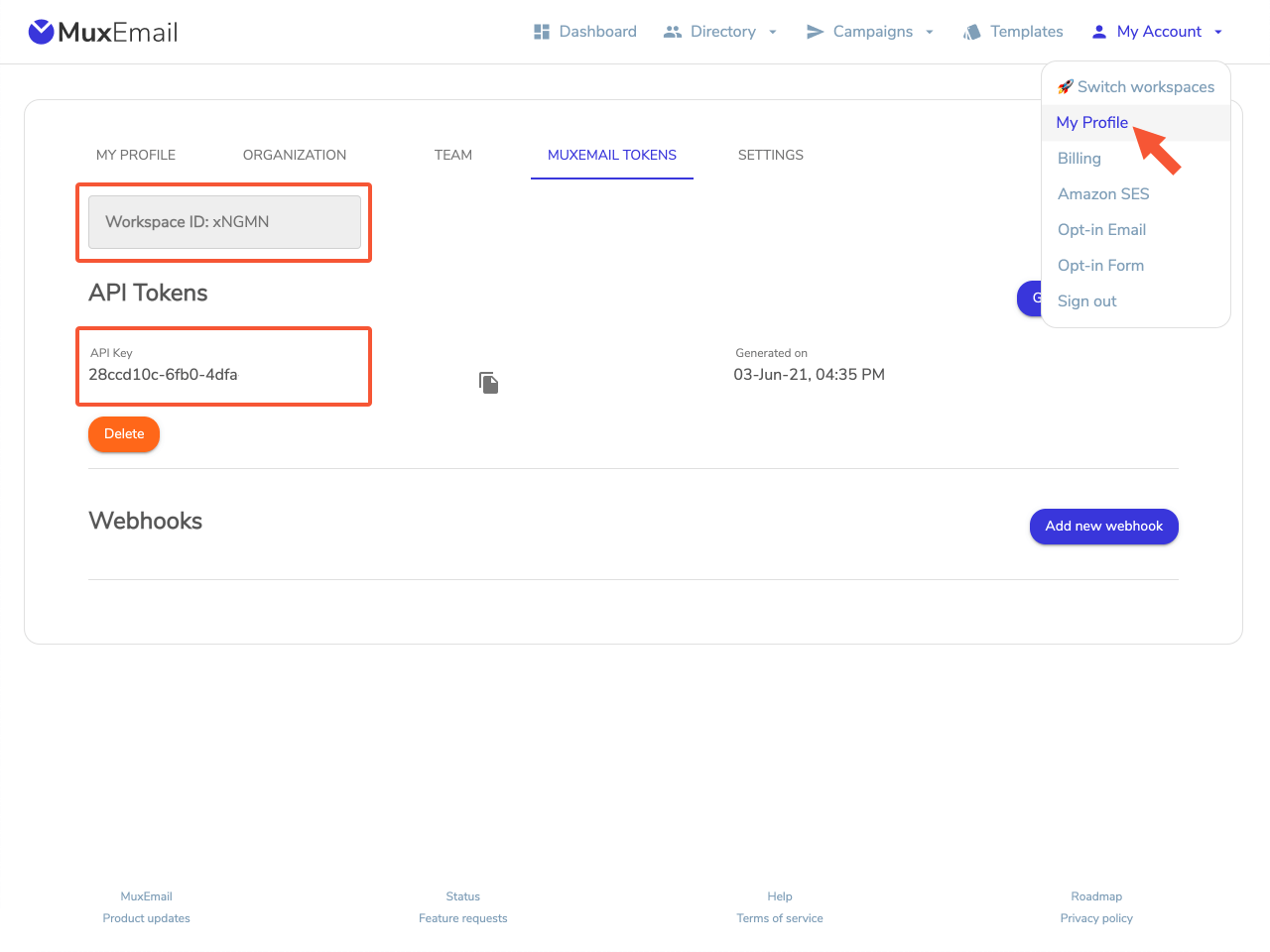 Muxemail tokens in muxemail account