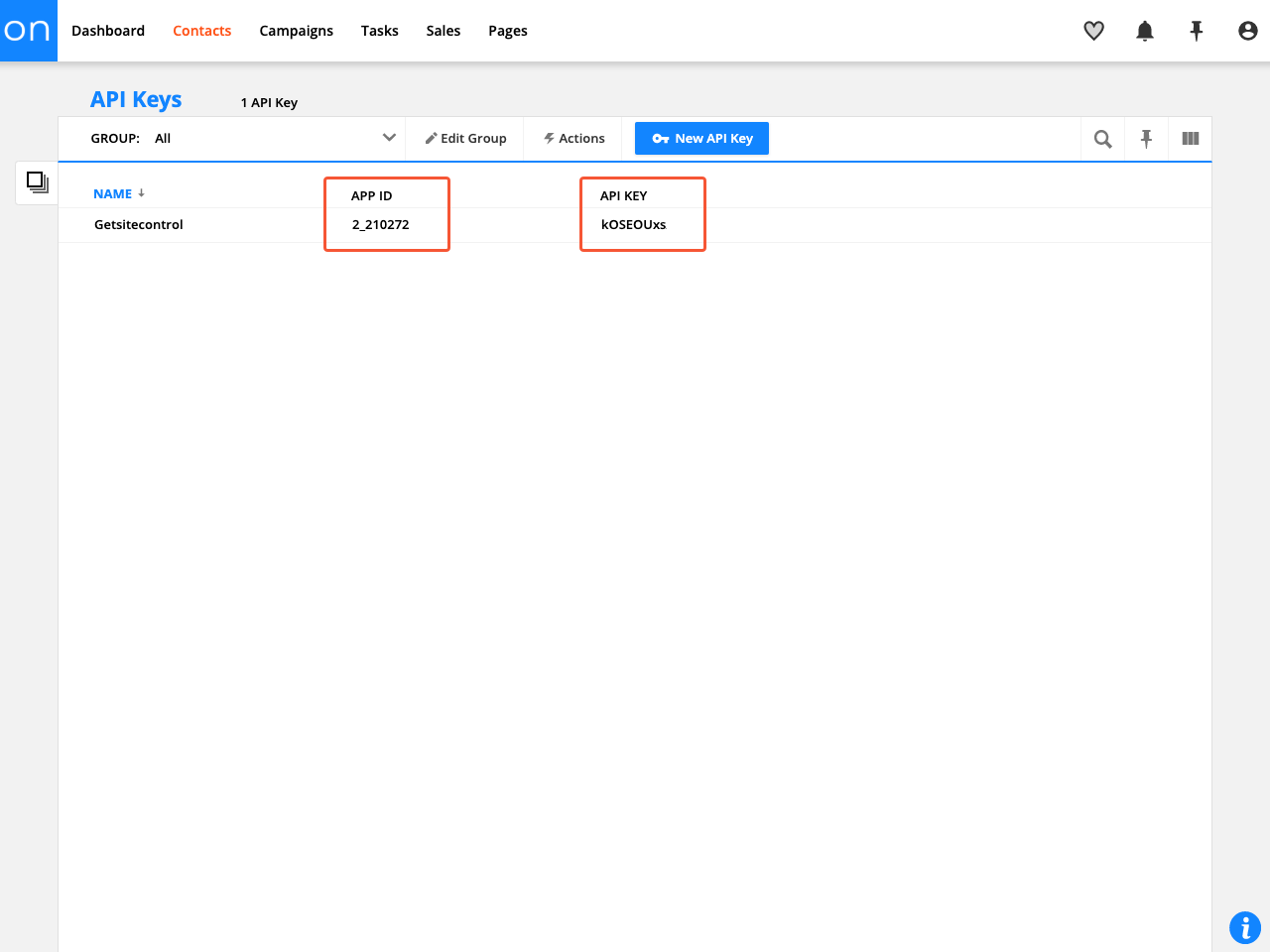 Ontraport API Keys section
