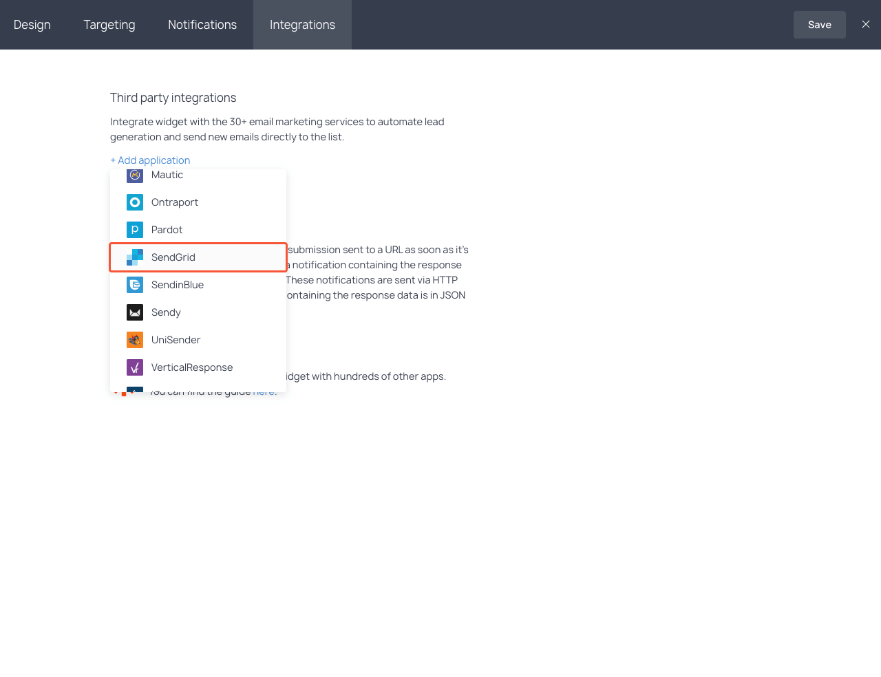 Integrations section with the highlighted SendGrid item in the dropdown list