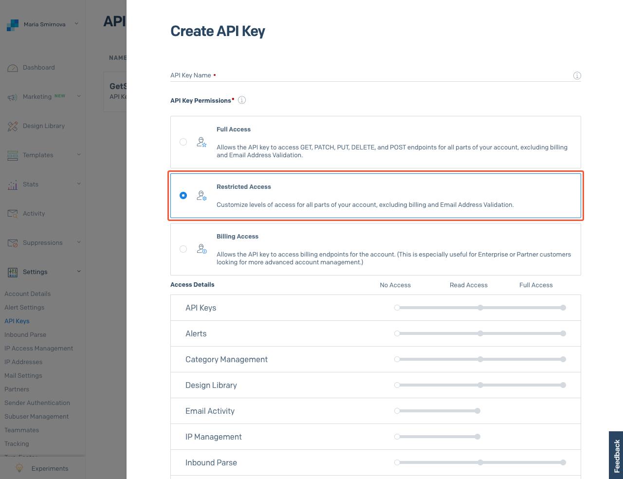 SendGrid API key settings section