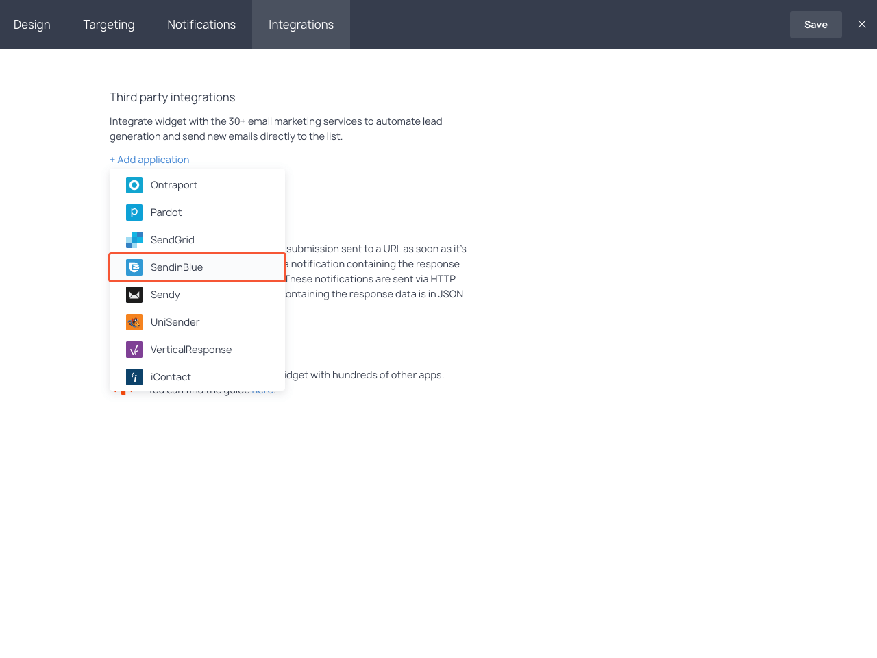 Integrations section with the highlighted SendinBlue item in the dropdown list