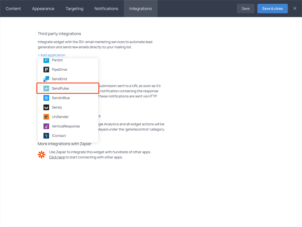 Integrations section with the highlighted SendPulse item in the dropdown list