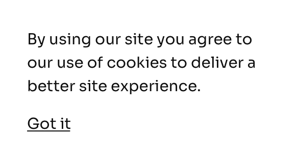 Centered cookie notification bar