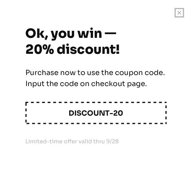 Get 20% off any purchase!