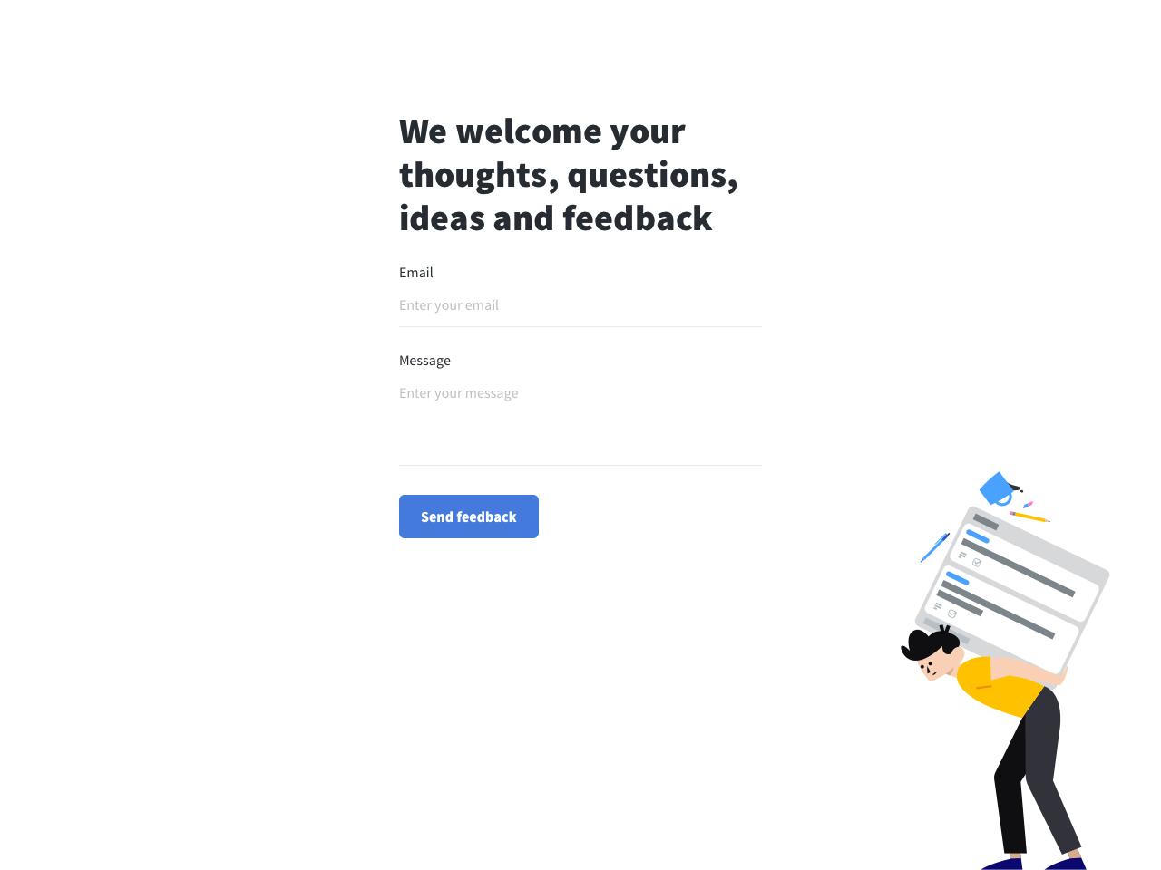 Fullscreen feedback form