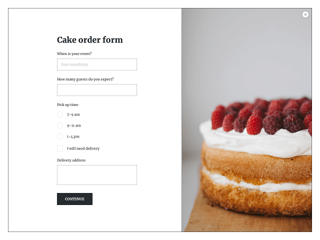Fullscreen online order form powered by Getsitecontrol