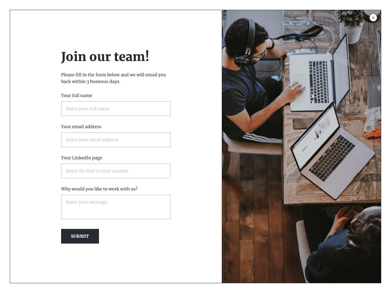 Fullscreen job application form template powered by Getsitecontrol