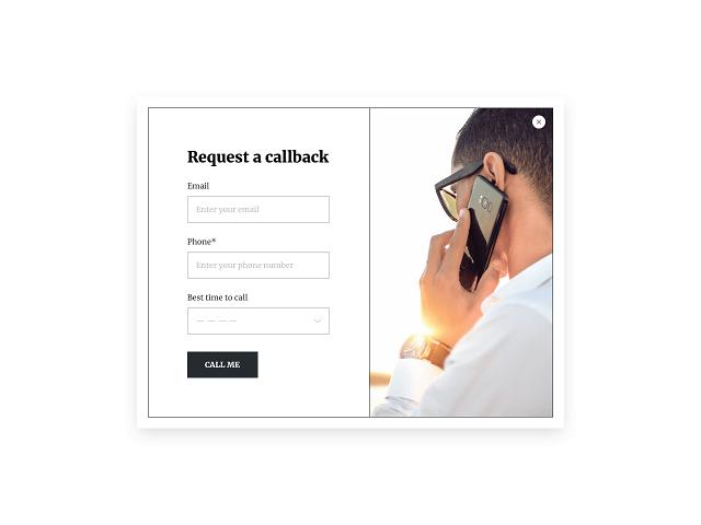 Request a callback popup